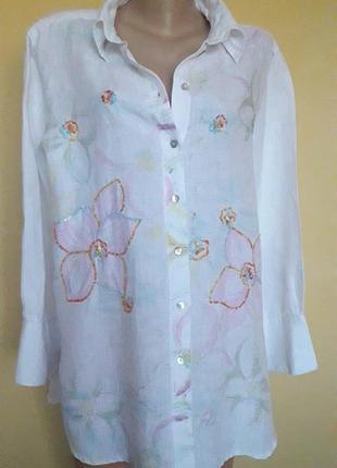 Льняная рубашка в цветы,пайетки