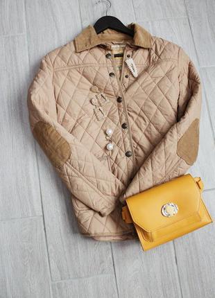 Стильная стеганая куртка/ветровка коричневого цвета на кнопках на осень от denim&co