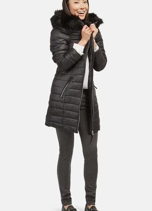Черное пальто на синтапоне длинная демисезонная куртка tom tailor