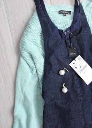 Джинсовый сарафан/комбинезон темно-синего цвета с биркой от zara3 фото