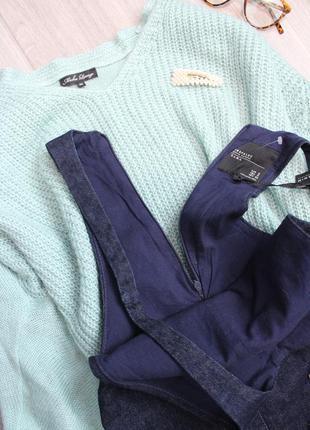 Джинсовый сарафан/комбинезон темно-синего цвета с биркой от zara7 фото