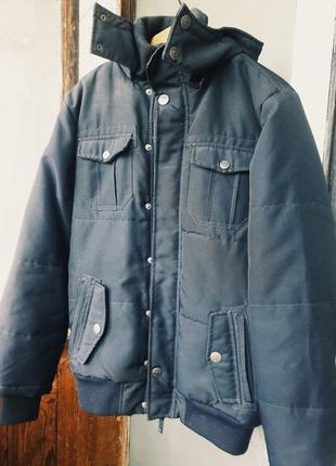 Куртка мужская парка синего цвета размер s