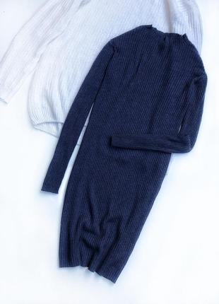 Трендовое платье темно-синего цвета в рубчик миди