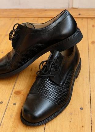 Шикарные мужские туфли кожаные черные