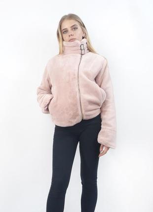 Женская экошуба ,розовый цвет. хит сезона
