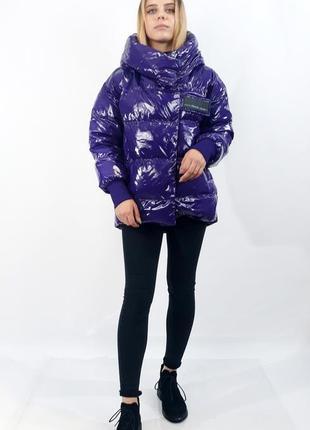 Куртка женская зимняя prada. стильный фиолетовый цвет