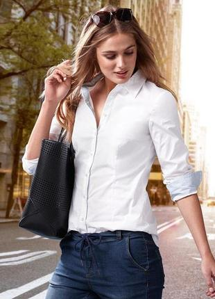 Шикарная белая рубашка из  хлопка от тсм tchibo (чибо),германия,размер укр 50-52