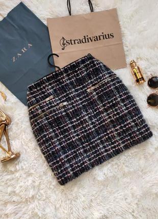 Женская твидовая юбка осення теплая с замками