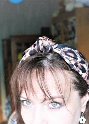 Повязка на голову чалма, узелок тигровой, леопардовой  расцветки