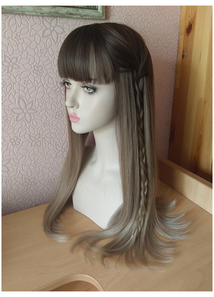 Новый длинный парик с чёлкой и пробором омбре русый/пепельный блонд