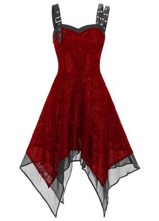 Асимметричное  платье красное череп с черепами halloween хэллоуин хеллоуин