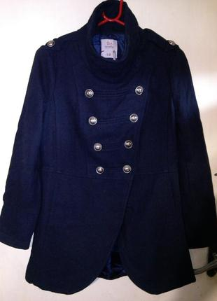 Стильная,тёплая-35% шерсть,деми,куртка-полупальто с карманами,тёмно-синего цвета,runs