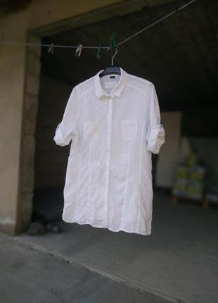 Белая,длинная, льняная рубашка, оверсайз, g.w pure linen