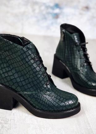 Рр 36-40 осень натуральная кожа стильные зеленые ботинки на удобном каблуке