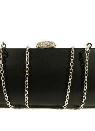 447a8cb53558 Вечерний черный клатч, сумочка rose heart 102374 на цепочке Rose ...