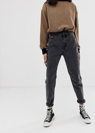 Винтажные мом джинсы с высокой талией, плотные