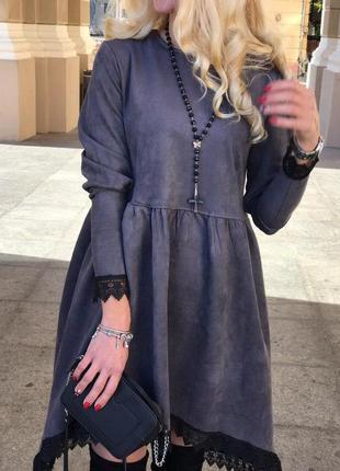 Міхт стильное замшевое платье в цветах  мод 026