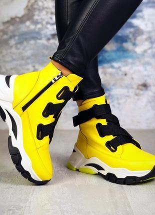 Рр 36-40 осень(зима)стильные ботинки лимонного цвета с трендовыми ремнями