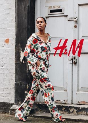 Хит! легкий летний оверсайз костюм пижамный стиль цветочный принт маки от h&m