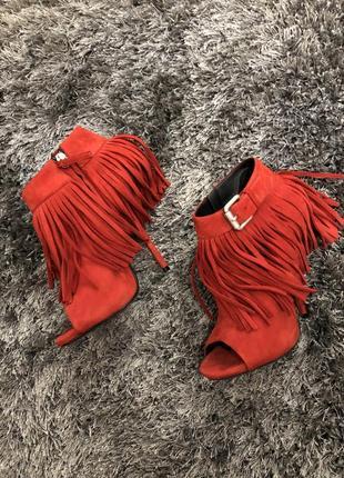 Ботинки zanotti 38,5 занотти красные замша