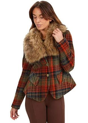 Брендовое демисезонное пальто жакет с меховым воротником joe browns этикетка