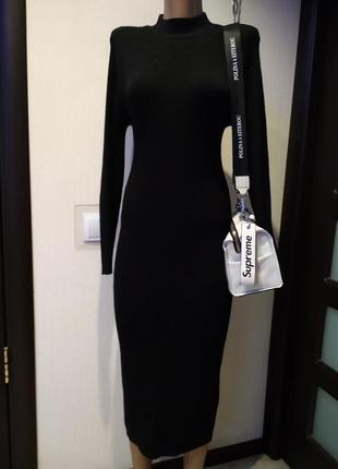 Стильное брендовое базовое чёрное платье макси трикотажное
