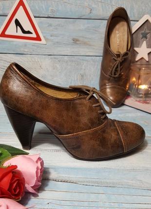Кожаные туфли ботильоны оксфорды со шнуровкой фактурная кожа р. 38 - 39
