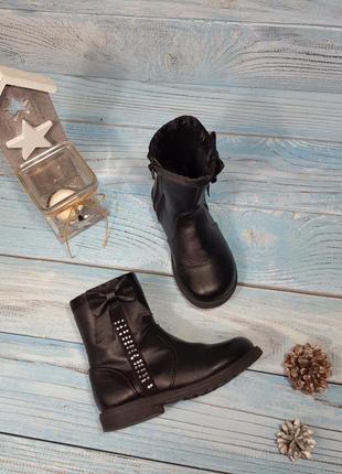 Черные демисезонные сапоги сапожки с бантиками и стразами на девочку стелька 16,5 см