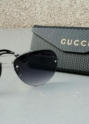Gucci очки женские солнцезащитные капли черные