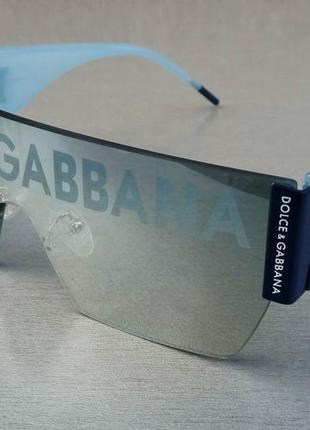 Dolce & gabbana очки маска женские солнцезащитные голубые с логотипом на линзах