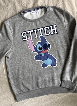 Мягкий серый свитшот с принтом disney stitch