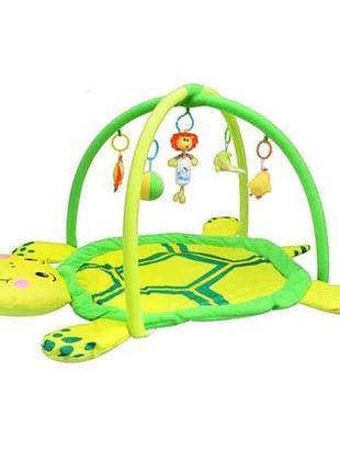 Детский развивающий коврик черепаха игрушки