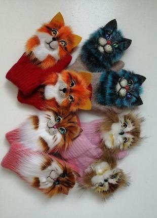 Звероварежки, рукавицы со зверями, варежки с котами