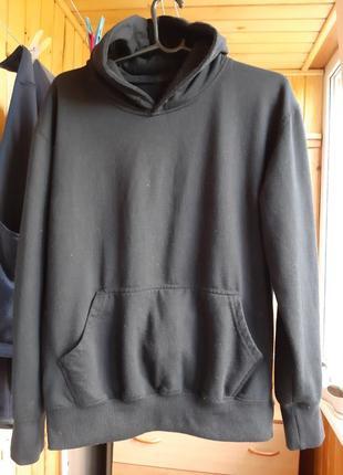 Толстовка худи капюшон карман кенгуру черная спортивная кофта хлопок хлопковая