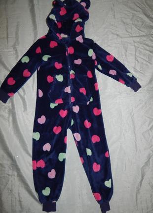 Пижама слип кигурими человечек на девочку 7 лет плюшевый