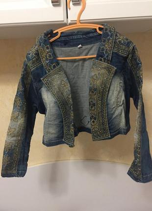 Джинсовый укороченный пиджак болеро raw