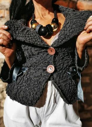 Шерстяная куртка пиджак жакет в бохо стиле с шерстью люрексом rinascimento