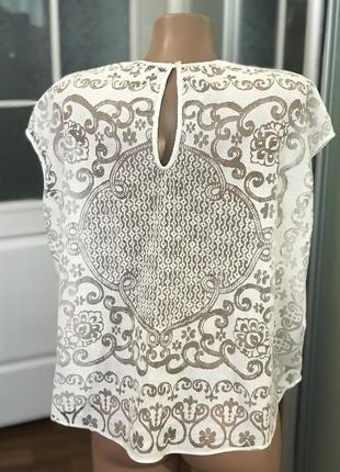 Белая красивая стильная блузка футболка с красивой спинной ⠀zara