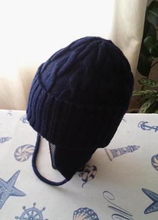 Теплая шапка с ушками, подкладка флис