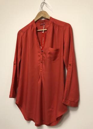 🎁 стильна теракотова блуза castro + подарунок шарф oasis / оранжевая терракотовая туника1 фото