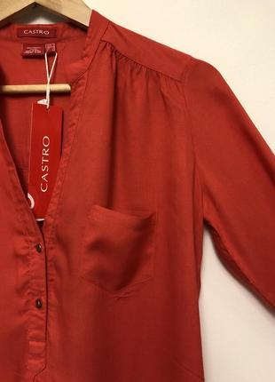 🎁 стильна теракотова блуза castro + подарунок шарф oasis / оранжевая терракотовая туника2 фото