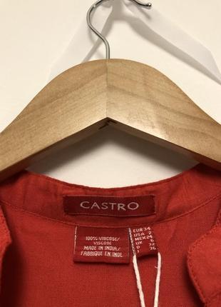 🎁 стильна теракотова блуза castro + подарунок шарф oasis / оранжевая терракотовая туника4 фото