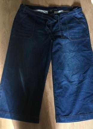 Крутые стильные джинсовые кюлоты с поясом большой размер 241 фото