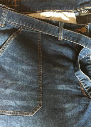 Крутые стильные джинсовые кюлоты с поясом большой размер 245 фото