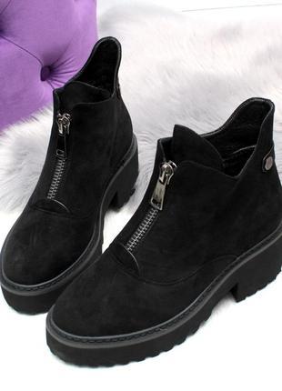Черные замшевые зимние ботинки на низком ходу7 фото