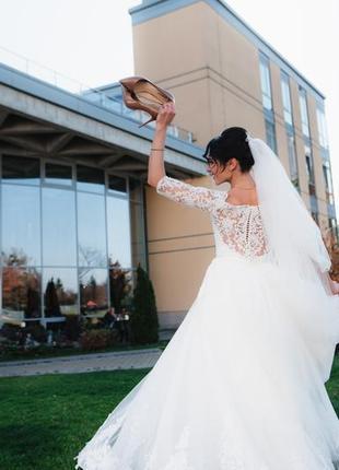 Cвадебное осеннее платье/весільна сукня berta, берта + фата и кольца в подарок4 фото