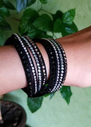 Браслет черные чёрный камни1 фото