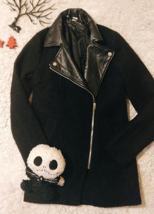 Пальто плащ шерсть кожа базовый черный косуха парка2 фото