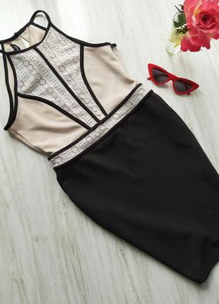 Красиво бежево-черное платье