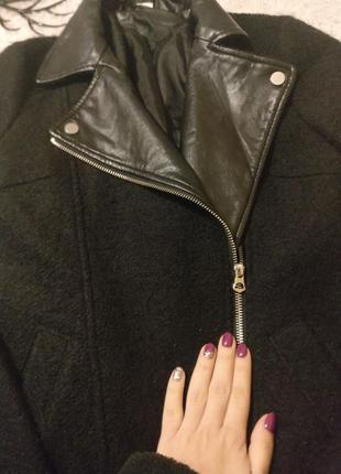 Пальто плащ шерсть кожа базовый черный косуха парка3 фото